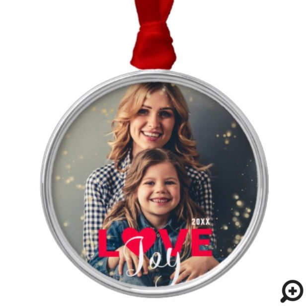 Love & Joy Modern Red & White Family Photo Metal Ornament
