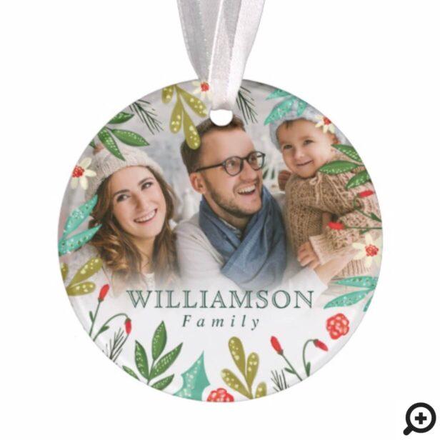 Reindeer & Festive Florals Monogram Family Photo Ornament