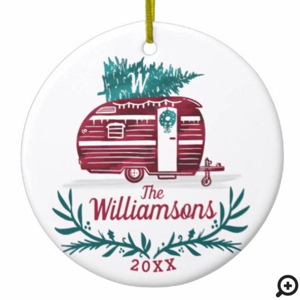 Festive Vintage Red Camper Christmas Tree Monogram Ceramic Ornament