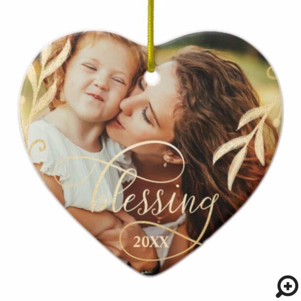 Elegant Gold Holly & Blessing Multiple Photo Ceramic Ornament