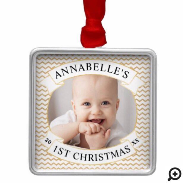Modern Gold Chevron   Baby's First Christmas Photo Metal Ornament
