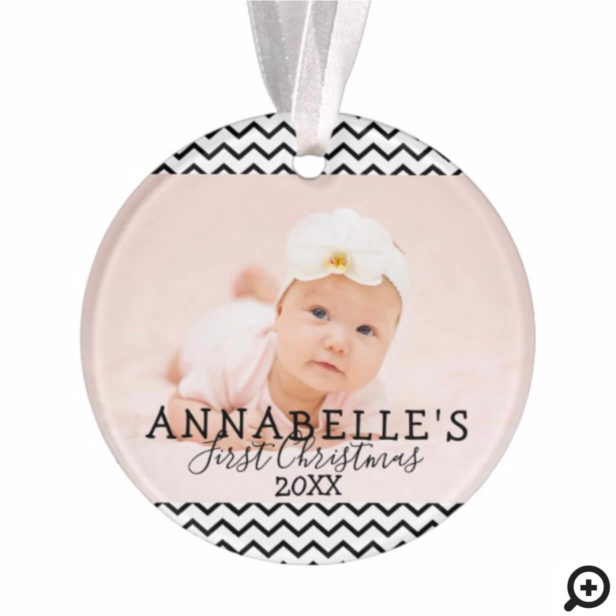 Trendy Black Chevron Baby's First Christmas Photo Ornament