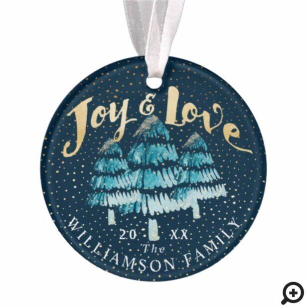 Joy Love Blue Ombre Winter Pine Tree Family Photo Ornament