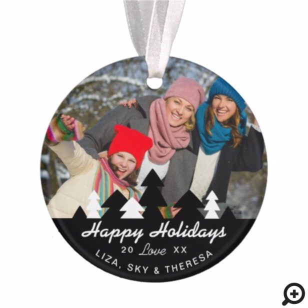 Black & White Pine Tree Forest Holiday Photos Ornament