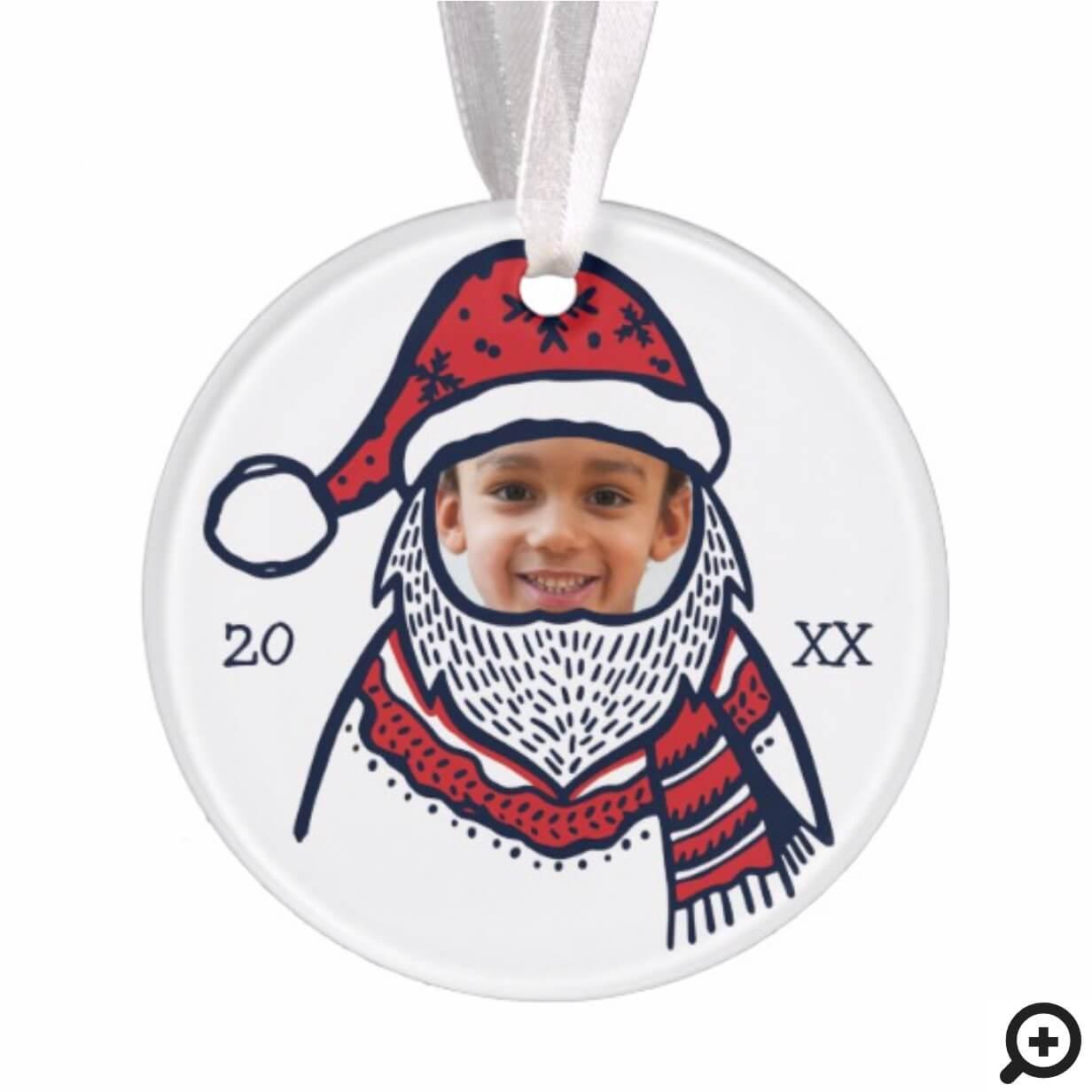 Fun, Festive Red Plaid Santa Claus Character Photo Ornament
