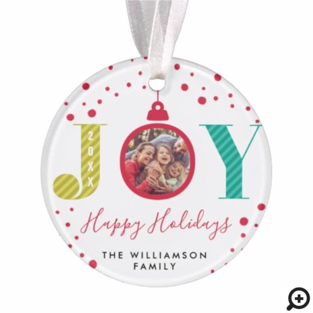 Modern & Colorful Joy Red Ornament | Holiday Photo