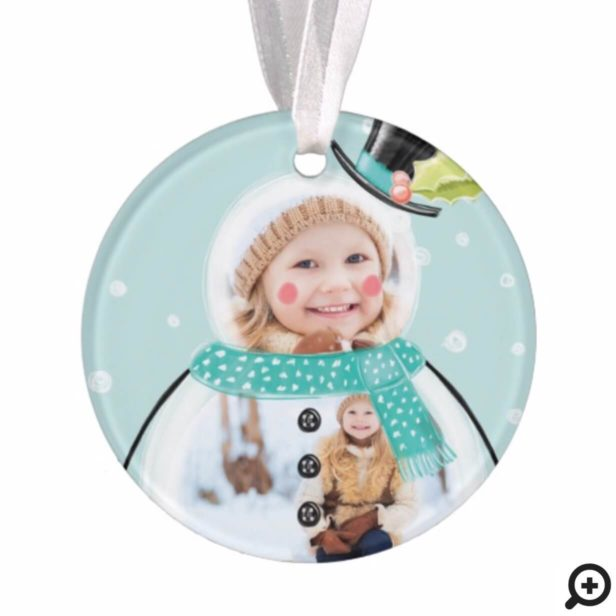 Cute Christmas Holiday Jolly Snowman Photo Ornament