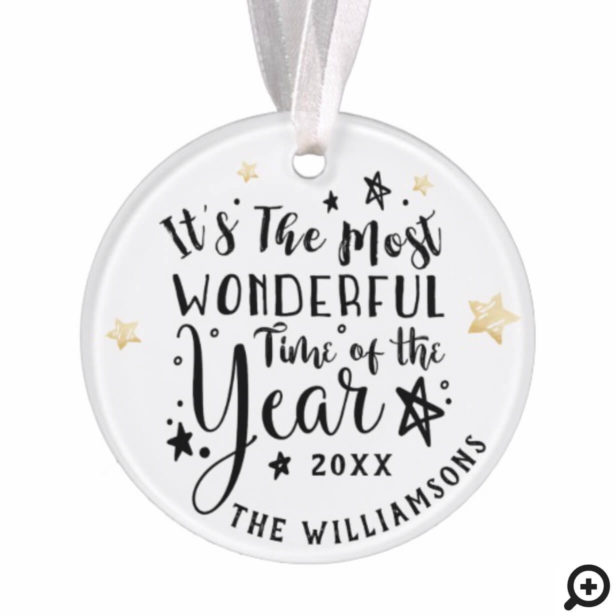 Modern Most Wonderful Time of The year photo Ornament