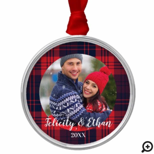 Red & Navy Blue Plaid Lumberjack Holiday Christmas Metal Ornament