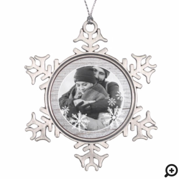 Rustic Grey Wood & Winter Snowflakes Holiday Photo Snowflake Pewter Christmas Ornament