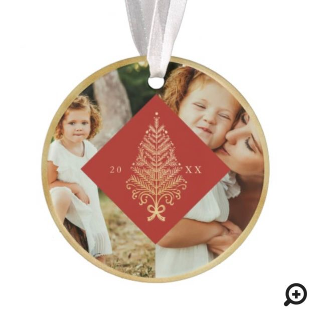 Red Elegant Gold Holiday Christmas Tree Two Photo Ornament