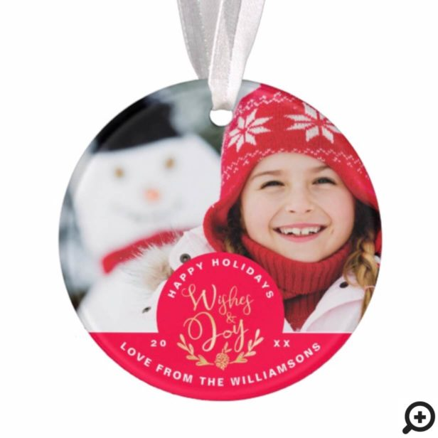 Red Cozy Festive Sweater | Holiday Joy Photo Card Ornament