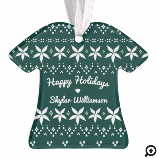 Forest Green Cozy Festive Sweater | Holiday Photo Ornament