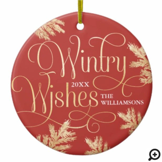 Luxury Wintry Wishes Red & Gold Pine Forest Photo Ceramic Ornament