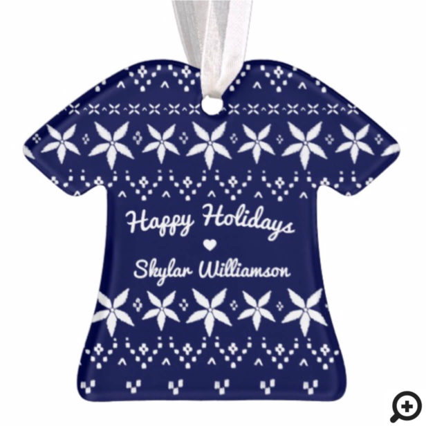 Navy Blue Cozy Festive Sweater | Holiday Joy Photo Ornament