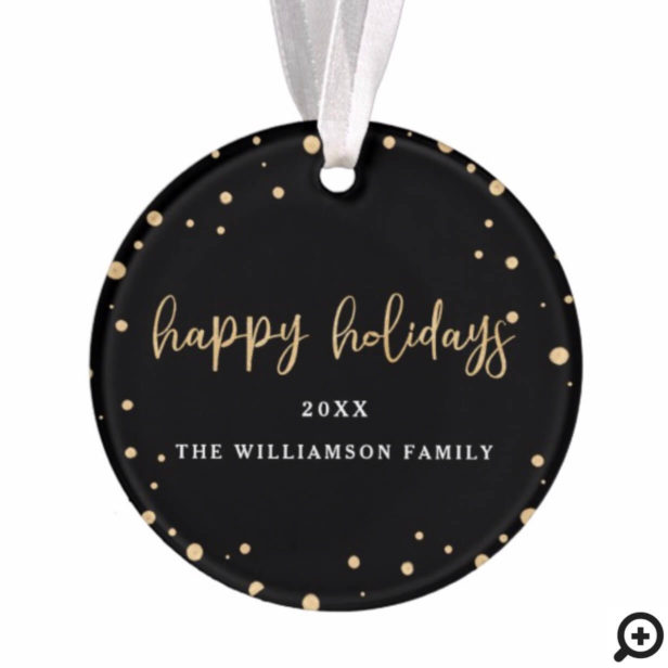 Happy Holidays | Minimal Modern Gold Snow Photo Ornament