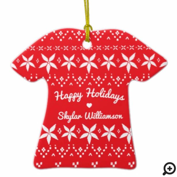 Red Cozy Festive Sweater | Holiday Joy Photo Ceramic Ornament