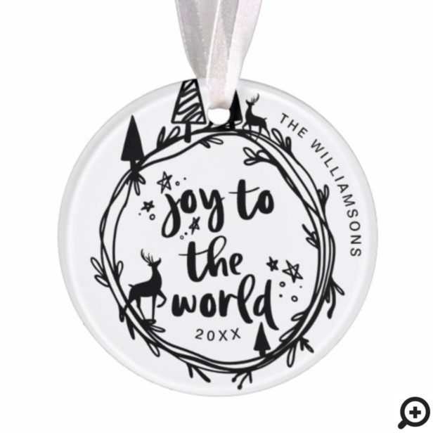 Joy To The Word | Black Pine Tree Holiday Photo Ornament