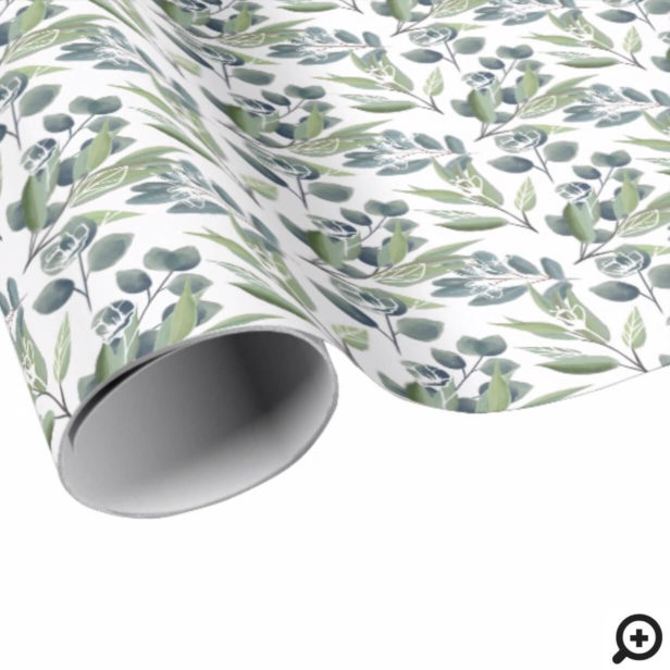 Elegant Watercolor Winter Foliage Christmas Wrapping Paper