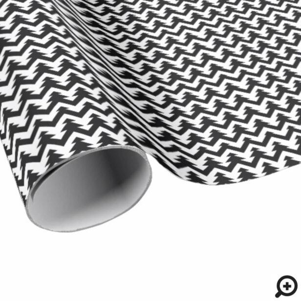 Black & White Stylish, Trendy Geometric Pattern Wrapping Paper