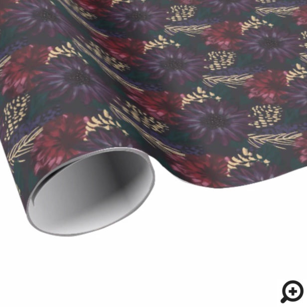 Moody Florals, Gold Pinecone & Spruce Christmas Wrapping Paper