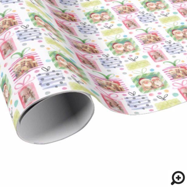 Colourful Watercolor Presents Christmas Photo Wrapping Paper