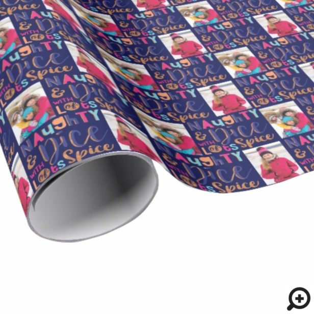 Naughty & Nice | Cheery Colourful Christmas Photo Wrapping Paper