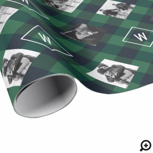 Green Buffalo Plaid | Monogram & Photos Christmas Wrapping Paper