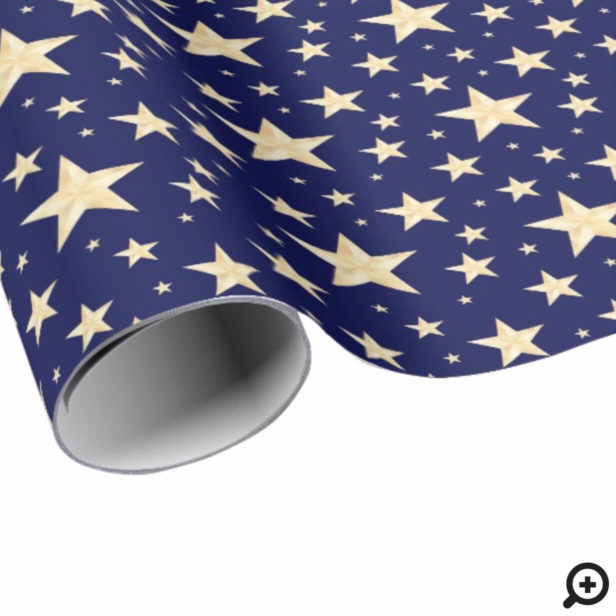 Monder Navy Blue & Faux Gold Foil Starry Night Wrapping Paper