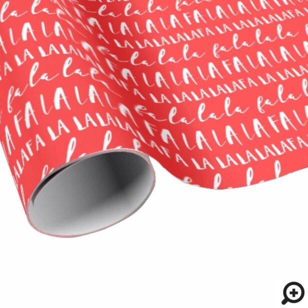 FA LA LA LA Black & Red Typographic Christmas Wrapping Paper