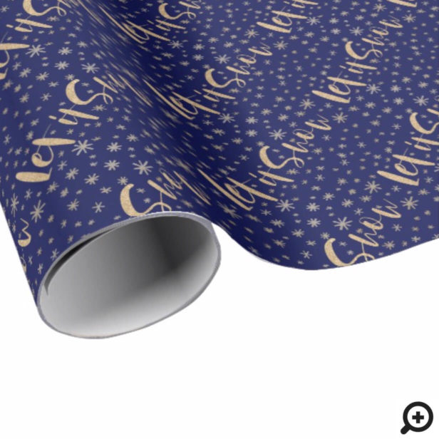 Let It Snow | Navy & Gold Starry Night Chrismas Wrapping Paper