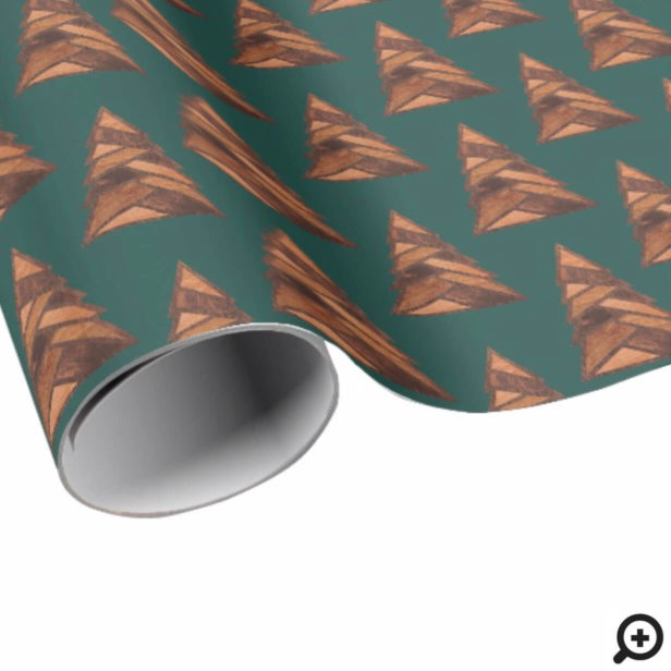 Rustic Woodgrain Outdoor Pine Tree Forest Pattern Wrapping Paper