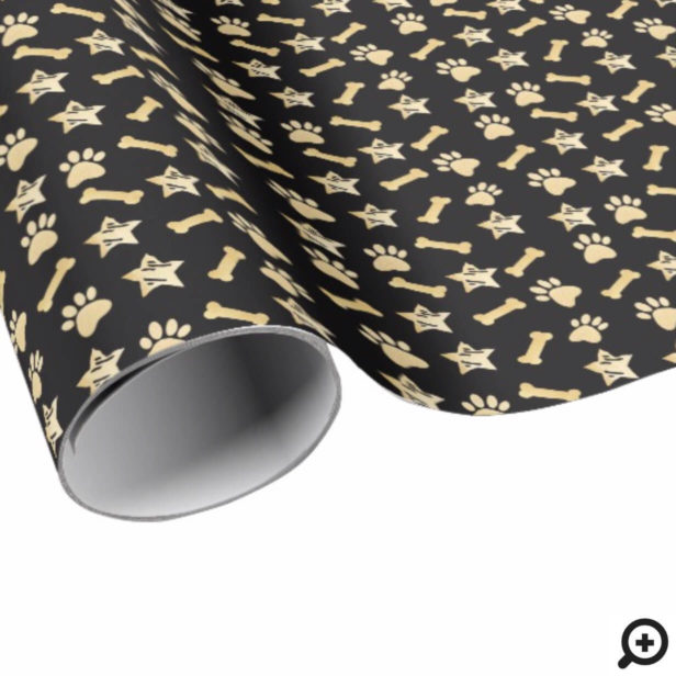 Black Gold Pet Prints, Dog Bone & Stars Christmas Wrapping Paper