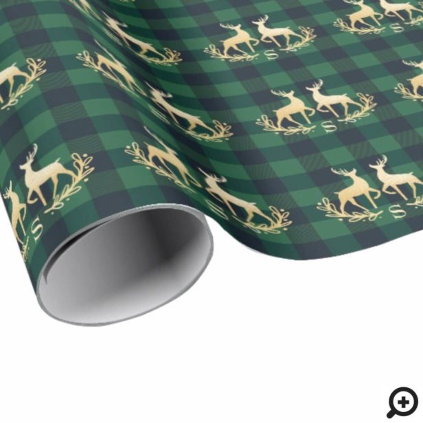 Gold Deer Monogram Green Buffalo Plaid Christmas Wrapping Paper