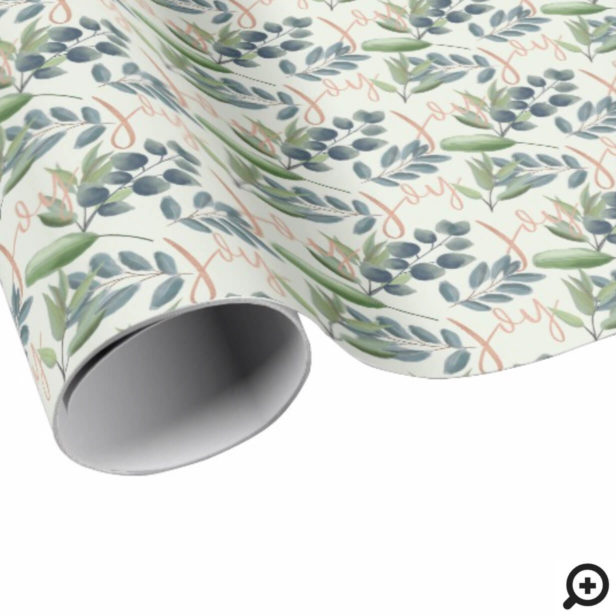 Joy Script Green Sage Floral Foliage Christmas Wrapping Paper