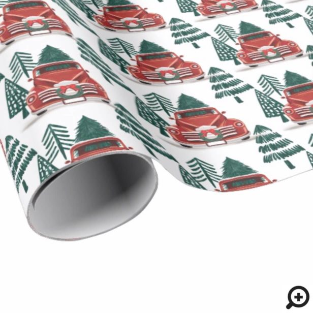Front View Vintage Red Truck Christmas Tree Wrapping Paper