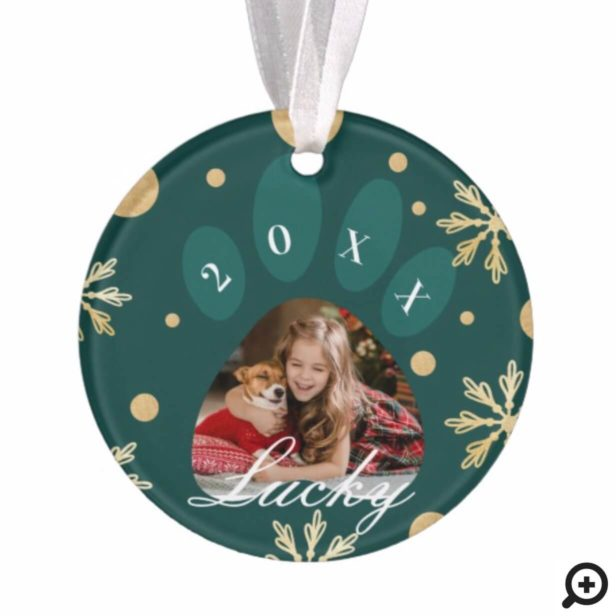 Green & Gold Pet Paw Print Photo & Snowflakes Ornament