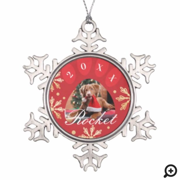 Red & Gold Snowflakes Pet Paw Print Photo Snowflake Pewter Christmas Ornament