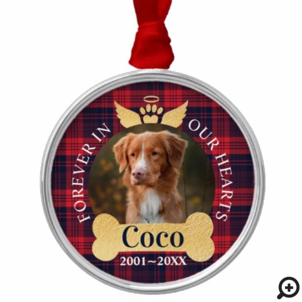 Forever In Our Hearts Red Plaid Pet Memorial Photo Metal Ornament