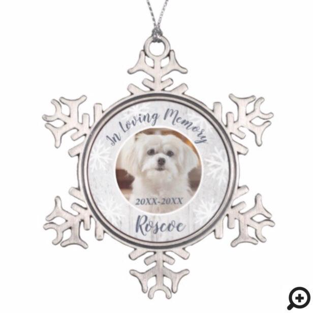 In Loving Memory   Grey Wood Pet Memorial Photo Snowflake Pewter Christmas Ornament