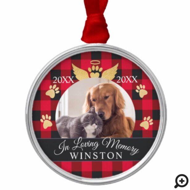 In Loving Memory | Red Plaid Pet Memorial Photo Metal Ornament
