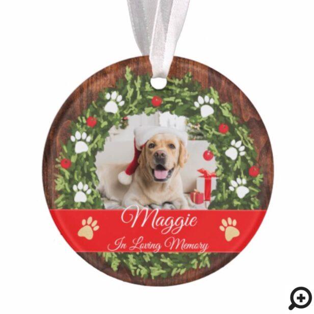 Loving Memory Christmas Wreath Pet Memorial Photo Ornament