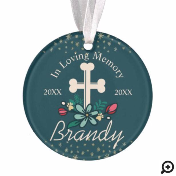 In Loving Memory Holiday Pet Cross Memorial Photo Ornament