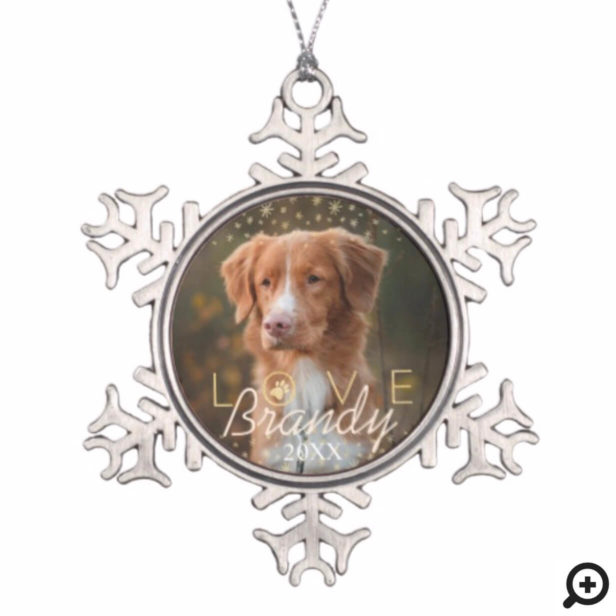 Love & Memories | Holiday Stars Pet Memorial Photo Snowflake Pewter Christmas Ornament