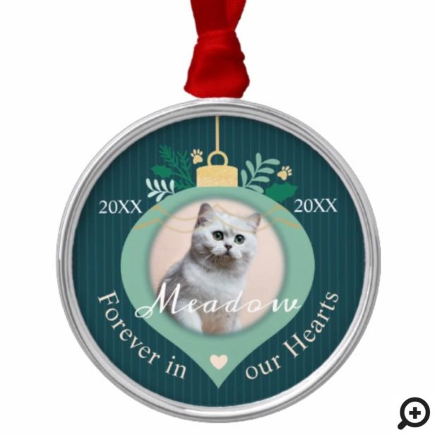 Forever In Our Hearts   Holiday Pet Memorial Photo Metal Ornament