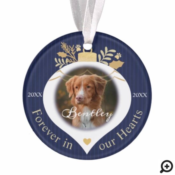 Forever In Our Hearts | Holiday Pet Memorial Photo Ornament