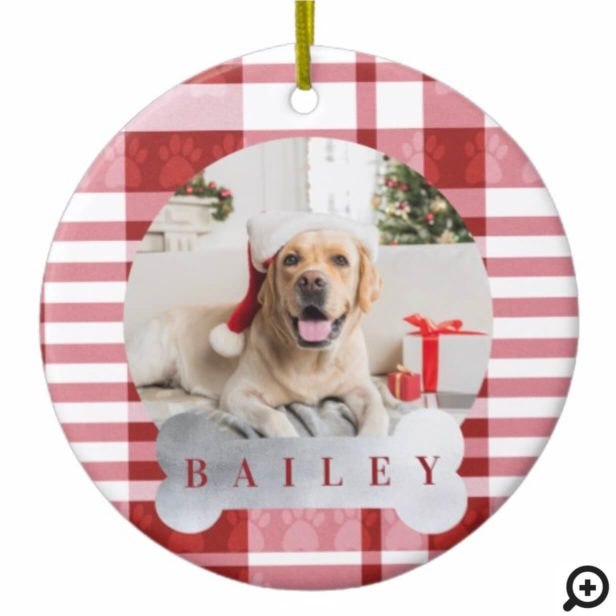 Cozy Red & White Plaid Paw Print Pet Photo Ceramic Ornament