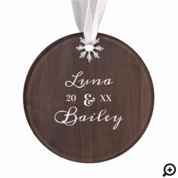 Dashing Through The Snow Rustic Wood Pet Photo Ornament
