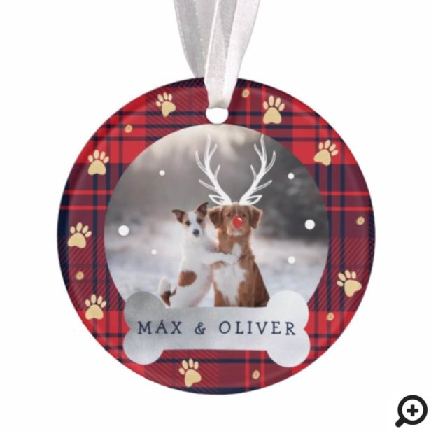 Red & Navy Blue Plaid & Gold Paw Print Pet Photo Ornament