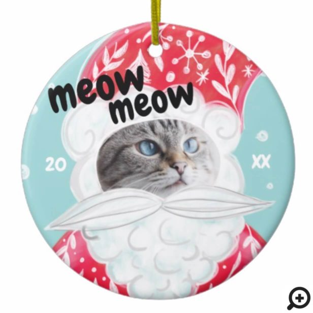 Fun Christmas Holiday Jolly Santa Claus Cat Photo Ceramic Ornament